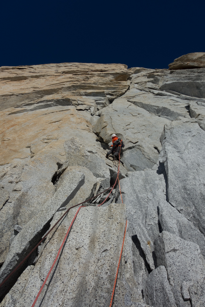 Nico Favresse leads up an intimidating looking corner system on Beggars Banquet on the east face of Aguja Poincenot.