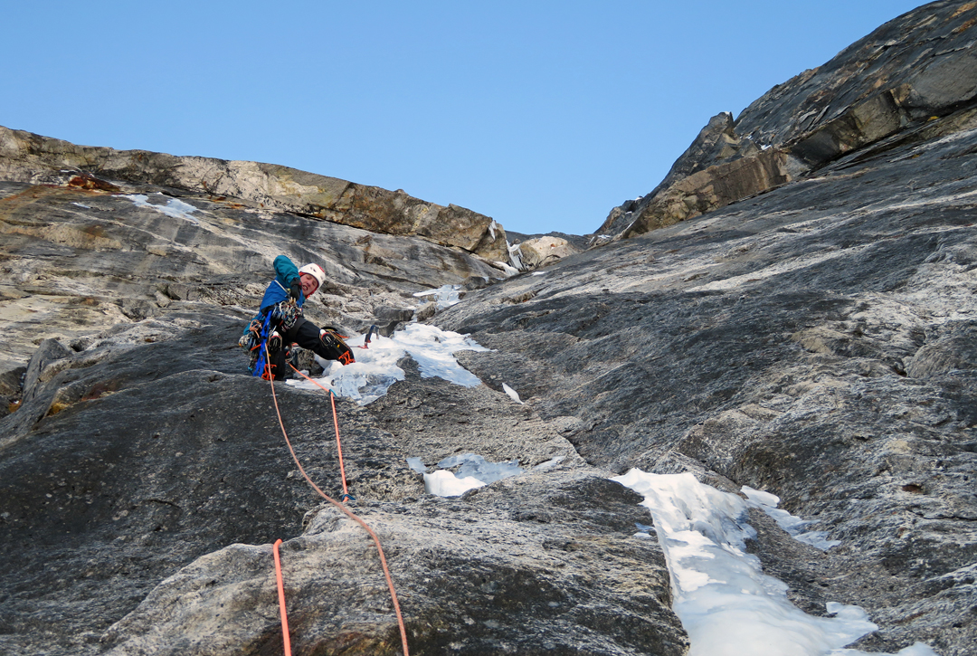 Quentin Roberts negotiates tricky mixed climbing on the headwall of the north pillar of Tengkangpoche.