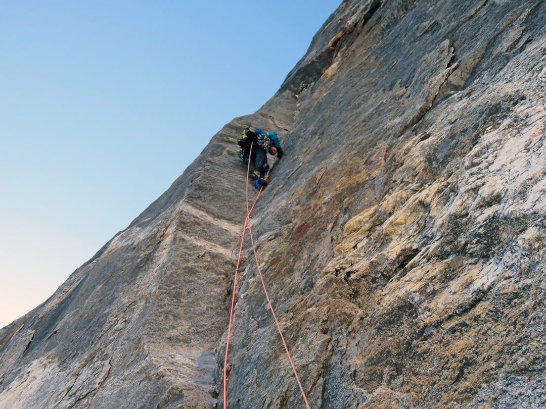 Quentin Roberts aiding thin cracks at 5,600m on the headwall of the north pillar of Tengkangpoche. This pitch was the high point of the 2006 Canadian attempt.