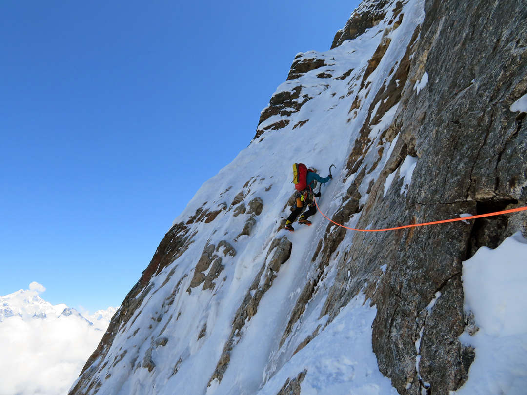 Quentin Roberts climbing straightforward ice on the first day of the attempt on the north pillar of Tengkangpoche.