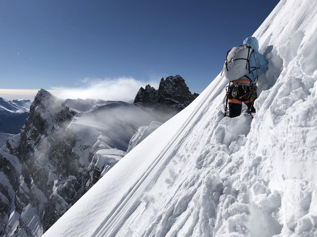 David Lama breaking through deep snow high on the east face of Howse Peak on April 16.