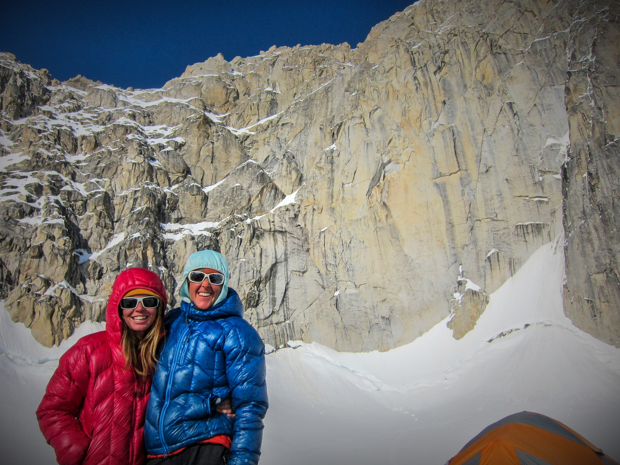 Jewell Lund (left) and Chantel Astorga below the Denali Diamond on the southwest face of North America's highest peak.