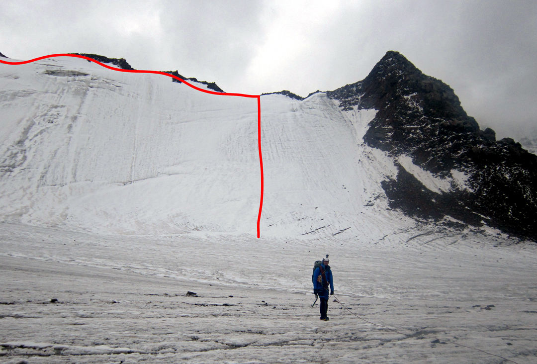 The north-facing ice wall leading to the west ridge of Pik Kөпөлөк (Pik Butterfly).
