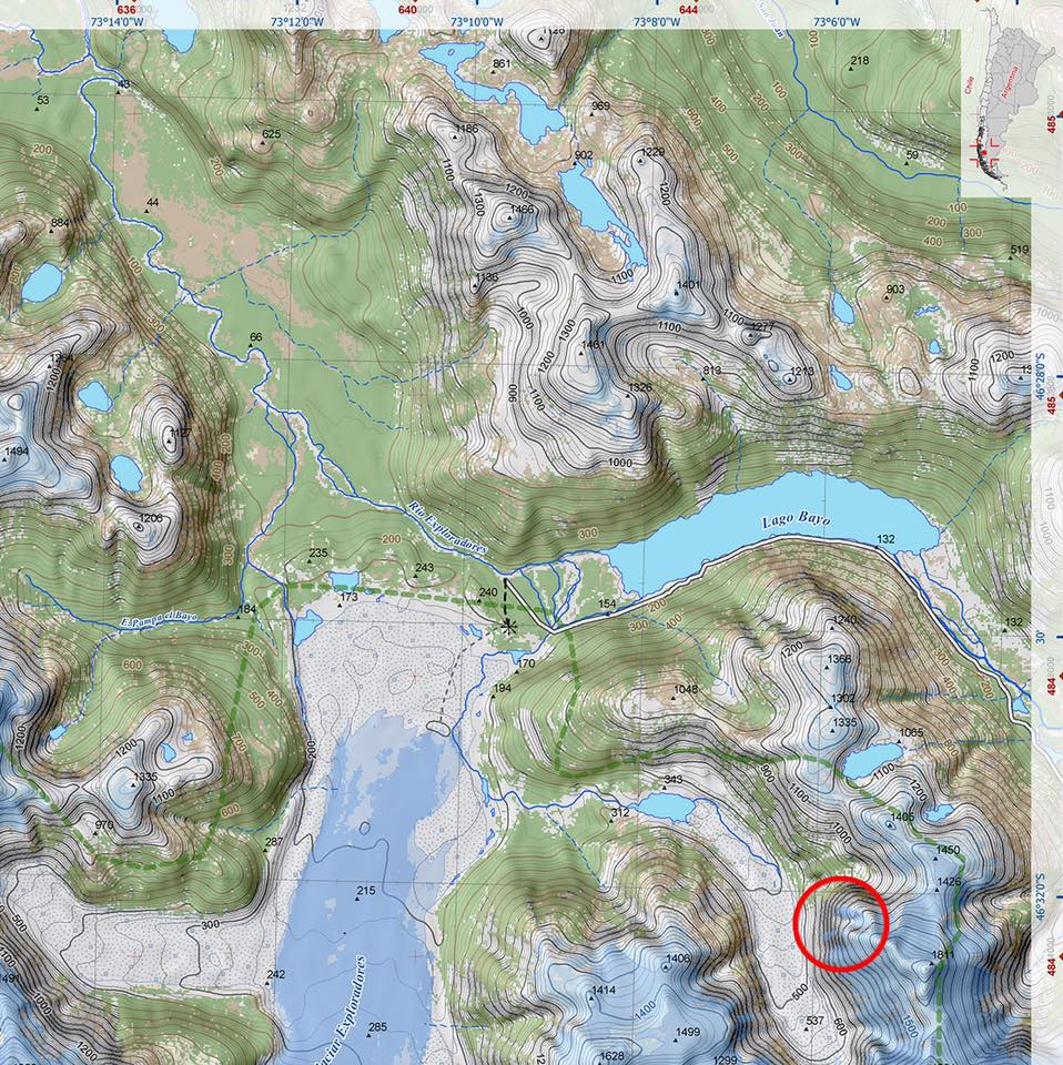 Location of the wall called El Chileno Grande, east of the Exploradores Glacier.