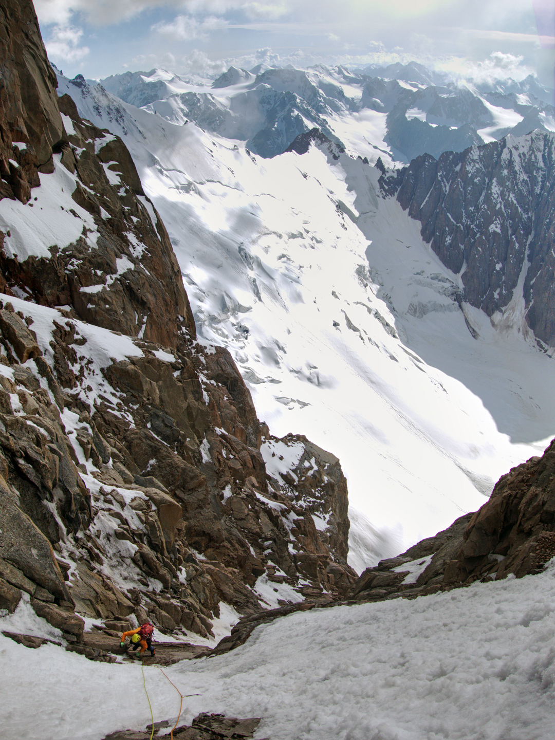 Grigoriy Chshukin exiting the last difficult section of the new route on the west face of Pik Trud. There were still seven pitches to go to reach the summit.