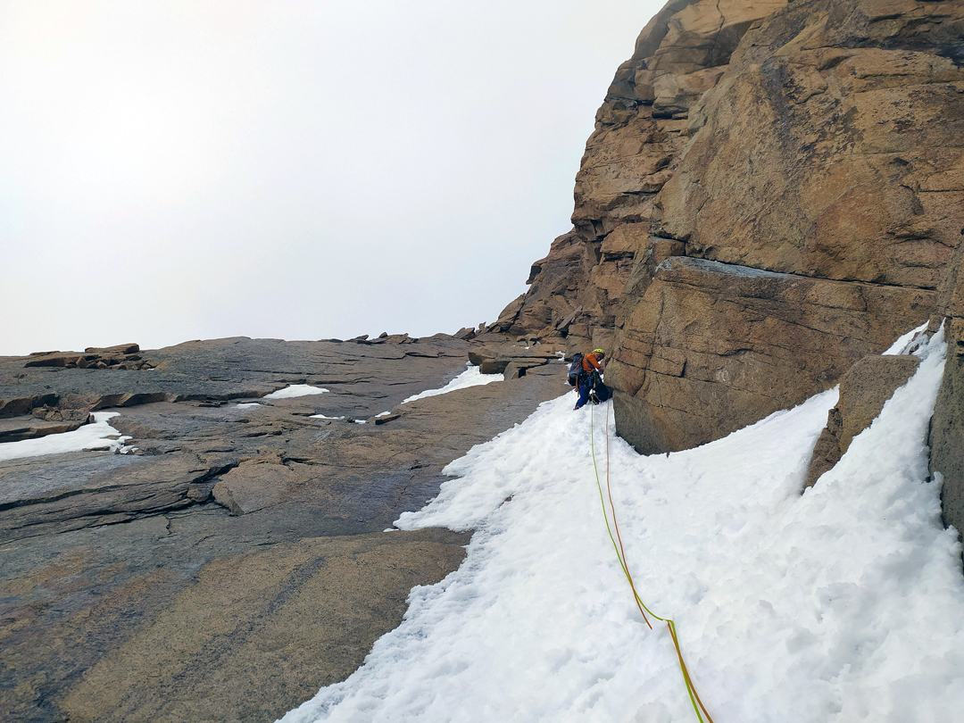 Kirill Belotserkovskiy on the last pitch of the new route on the west face of Pik Trud.