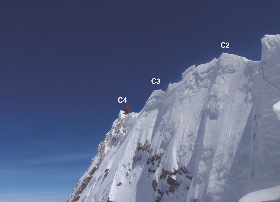 The distance between C2, where most Manaslu climbers stop their ascent, and C4, the 8,163-meter summit, is roughly 20 meters horizontally and three to six meters vertically, depending on snow conditions.