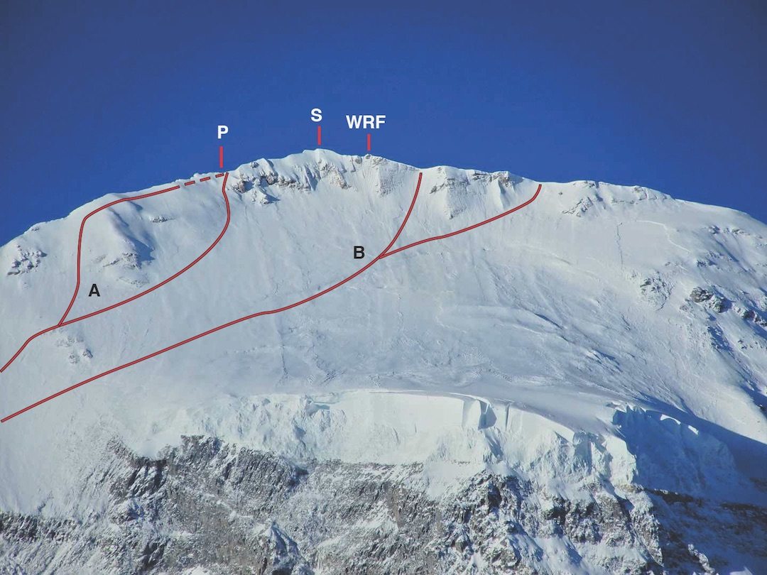 Dhaulagiri from the north, showing traditional finishes to the northeast ridge (A) and today's more common finishes (B) to the ridgeline west of the summit. (P) Metal pole east of the top. (S) Dhaulagiri's 8,167-meter summit. (WRF) Western rocky foresummit.