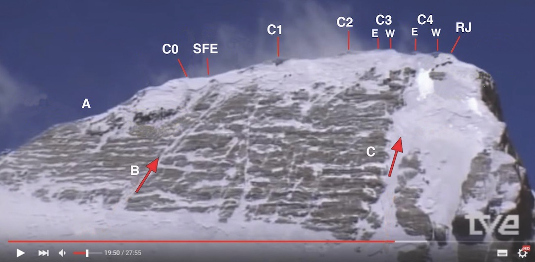 "Video capture of the north side of Annapurna, showing the various tops along the summit ridge, from CO at the east end to Ridge Junction (RJ) in the west. C2 and C3 mark the 8,091-meter summit. (A) Upper east ridge. (B) Gully leading to C1. (C) ""French Couloir."" (SFE) South face exit."