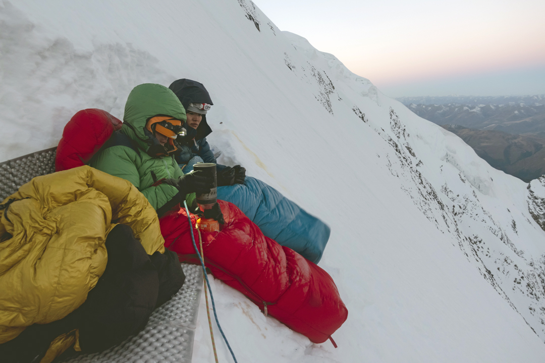 Yuikeung Ho and Xiaohua Yang at the first bivouac on the northwest face of Daddomain West.