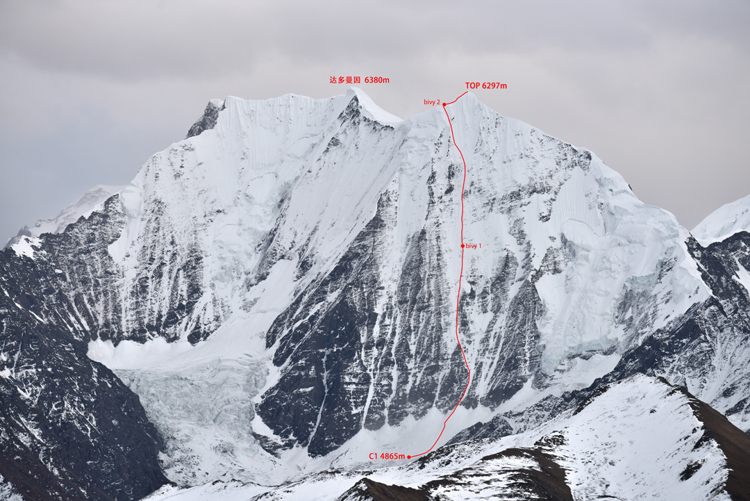 The northwest face of Daddomain and Daddomain West seen from the approach valley.