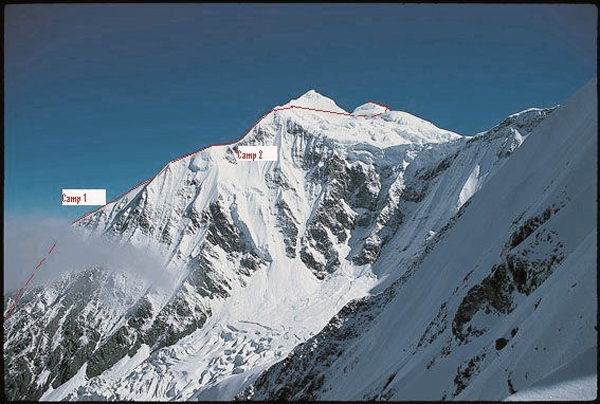 Daddomain from the south, showing the 2004 New Zealand route to the main summit, bypassing Daddomain West. The 2020 Chinese route, climbing the northwest face of Daddomain West, is hidden behind the ridge.