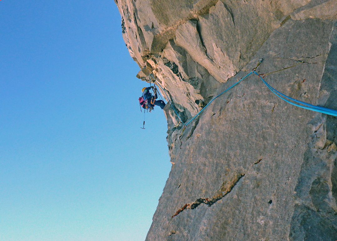 Giorgi Tepnadze on the first overhanging pitch of the Rockband, day three on the 2020 route.