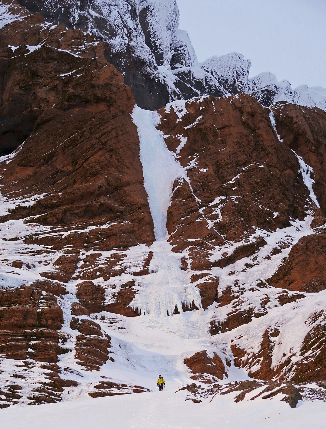 The initial icefall of End of the Line, southeast face of Skarðatindur.