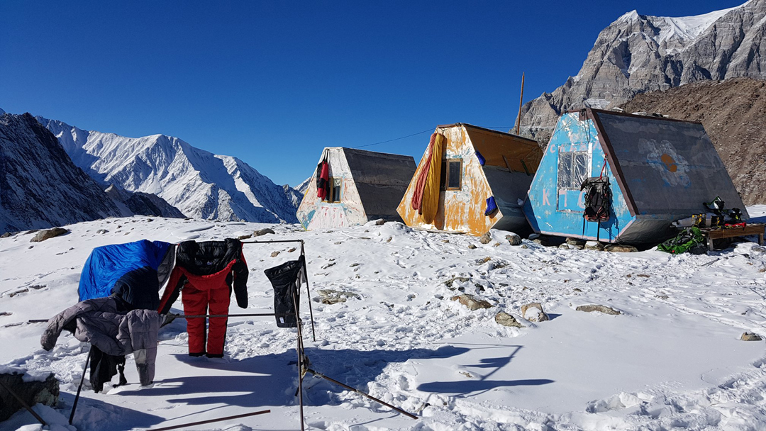 Camping shelters at Moskvina Base Camp (3,680m). During the winter ascent of Pik Communism, the temperature here fell to -33°C.