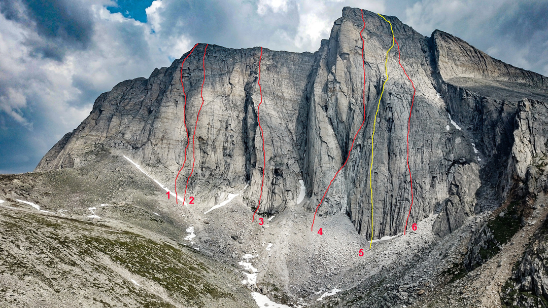 The west face of Pik Kart. (1) Big Chimney. (2) Sounds of Youth. (3) The Choice is Yours. (4) Cascade. (5) 2019 route. (6) Kuhelklopf. All routes except 5 were climbed in 2020.