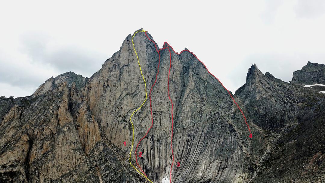 The southwest face of Pik Mechta. (1) Original 2019 route. (2) Dragon. (3) Der Fliegende Hollander. (4) South Ridge.