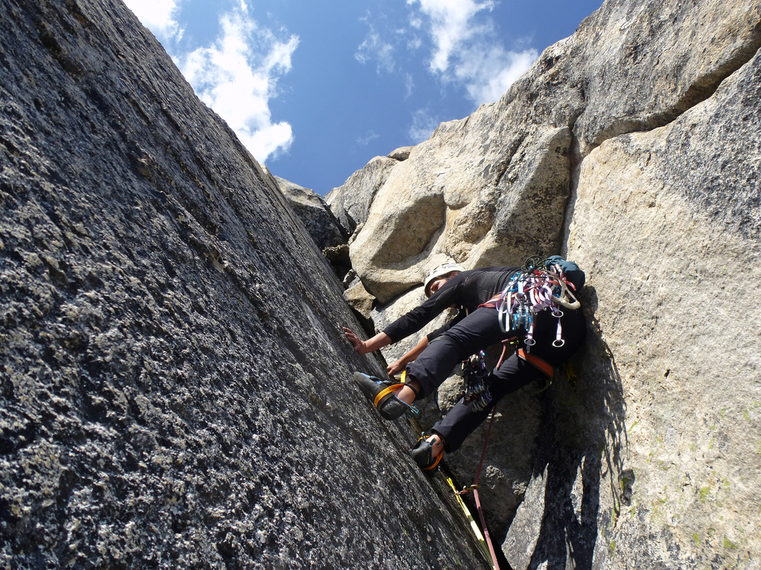 Evgenia Leontyeva tackles an awkward corner during the first ascent of The Choice is Yours, Pik Kart.