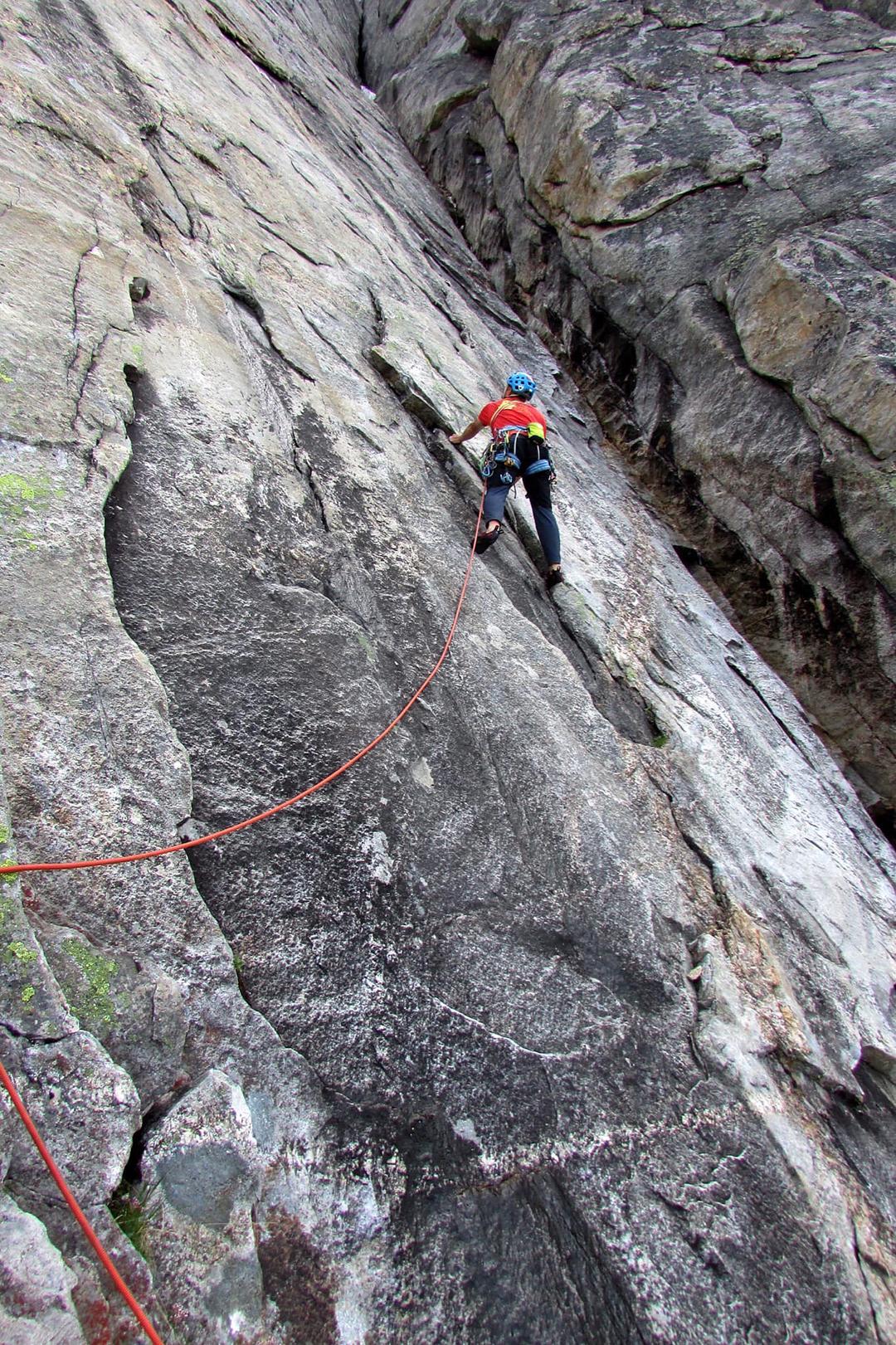 On the first ascent of Der Fliegende Hollander, southwest face of Pik Mechta.