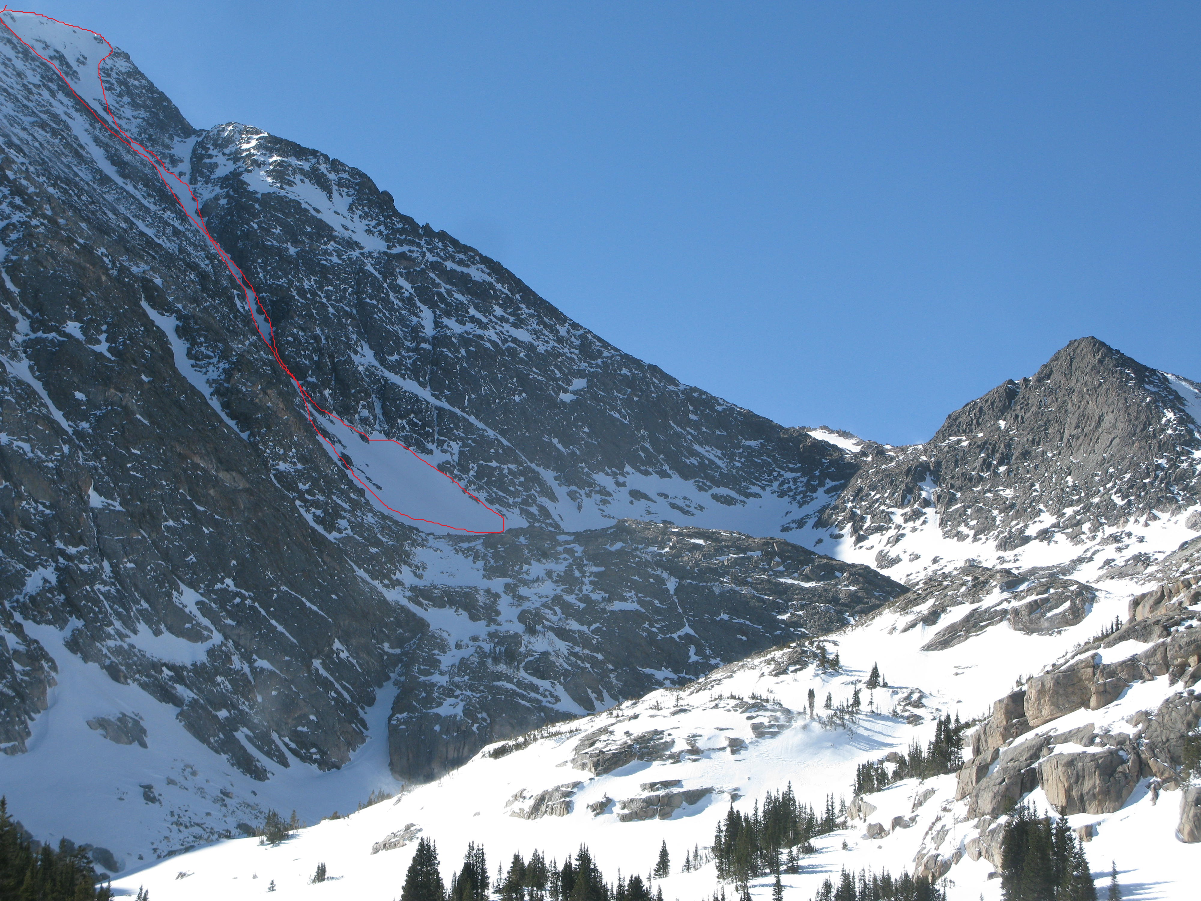 A close up view of the Northeast Couloir. Northeast facing slopes are particularly prone to wind loading.
