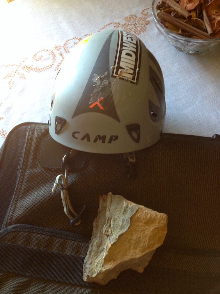 "The helmet Matt Queen was wearing in the Red River Gorge, and a piece of rock ""about one-third the size"" of the one that hit him in the head."