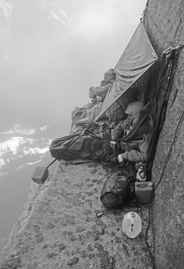 A serious storm hit these climbers atop El Cap Tower, eventually forcing a difficult retreat.