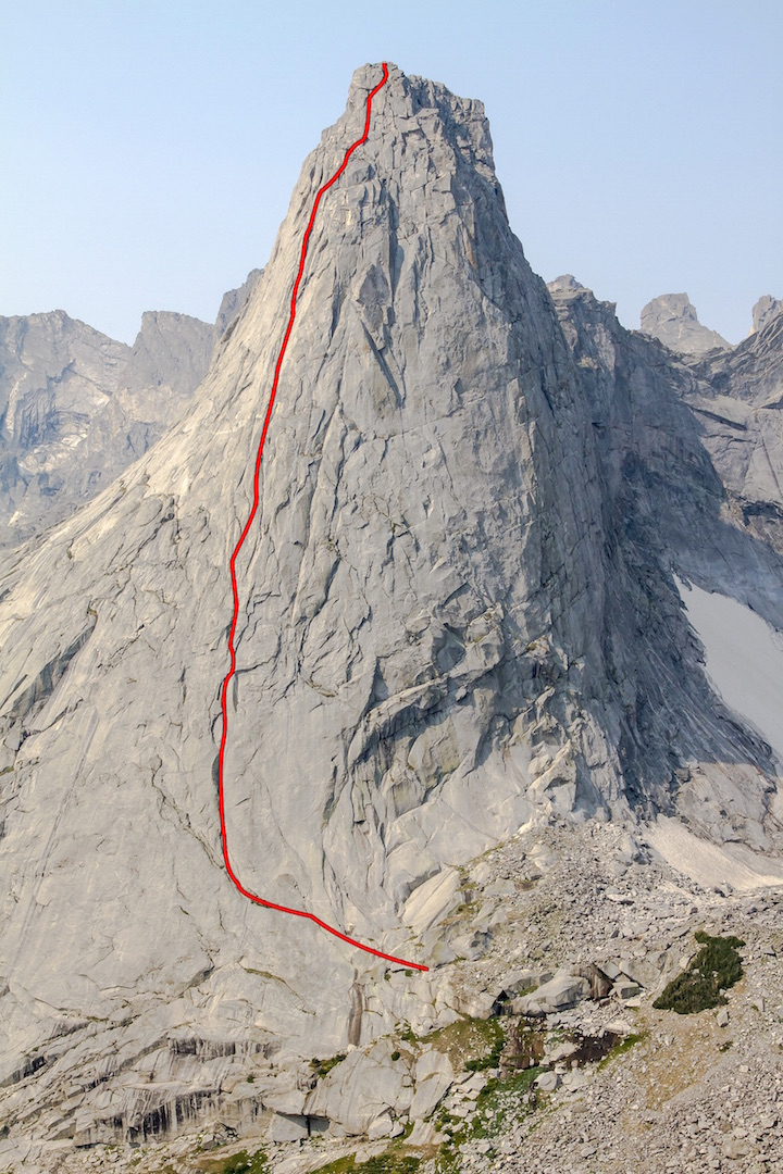 The northeast face of Pingora begins with a long traversing pitch. When two climbers tried to avoid retreating across this traverse and instead rappel straight down the face, they fell to the ground after an anchor failed.