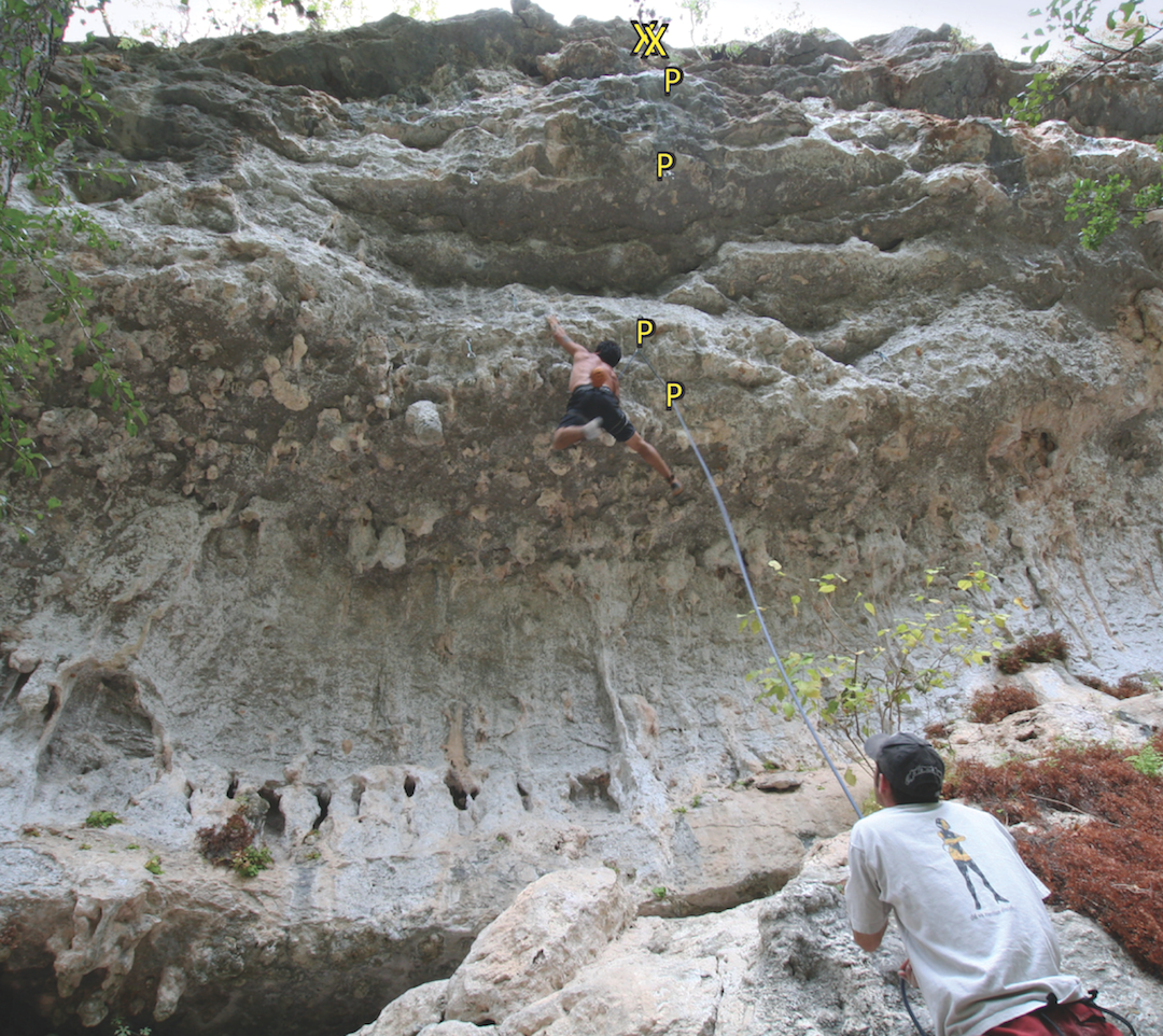 Jaime Cavazos on Super Cruiser, the short, very overhanging route where the author fell. The shelf where the author first landed is visible in front of the belayer.