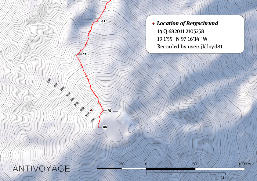 Red box marks approximate location of the crevasse in which Jake Lloyd spent more than 24 hours on Pico de Orizaba.