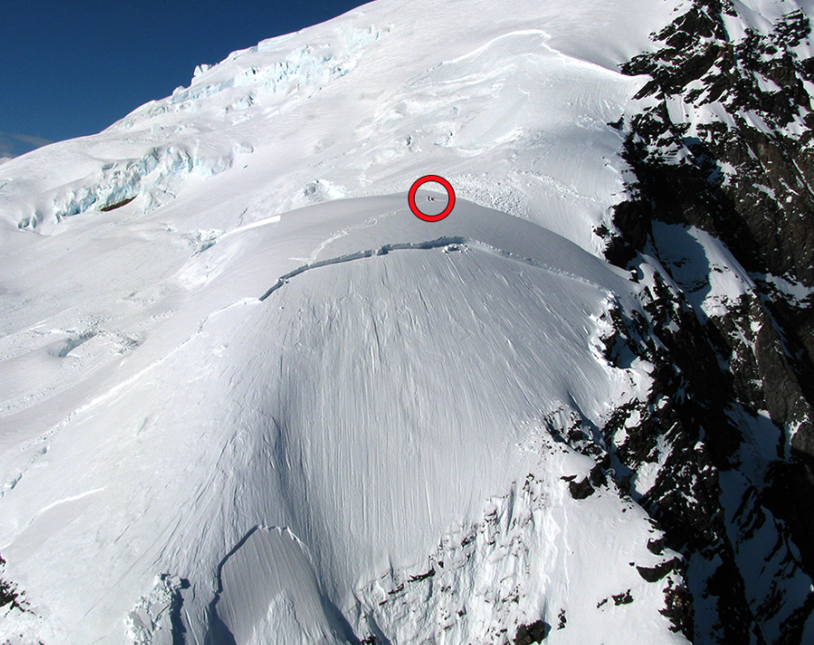 Climbers stranded by a large slab avalanche on the west ridge of Mt. Dickey.