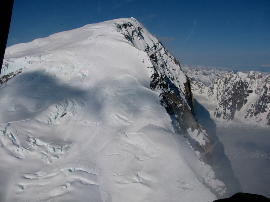 Extensive crown lines and avalanche debris on and near the west ridge of Mt. Dickey.