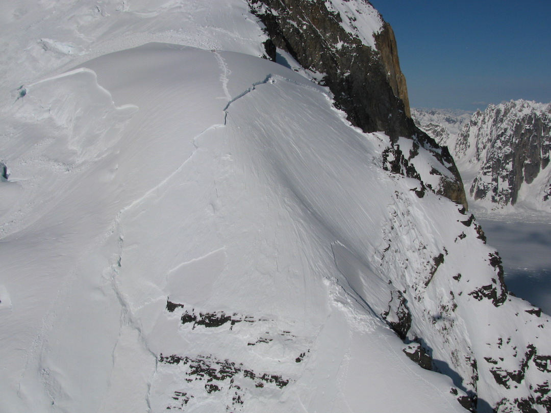 Huge slab avalanche and stranded skiers on the west ridge of Mt. Dickey.