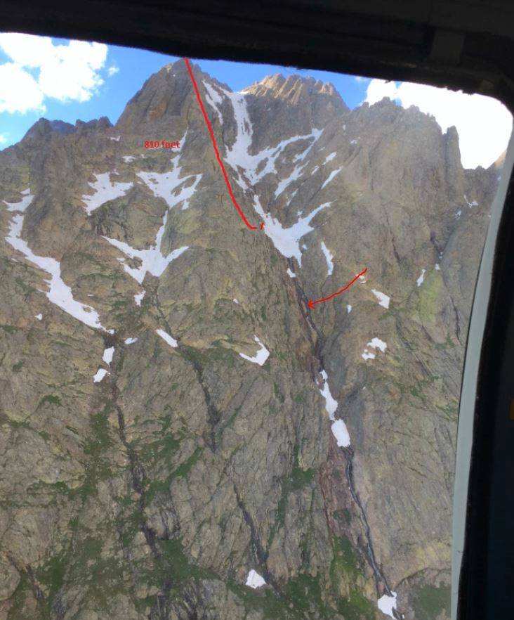 The Red Gully route on Crestone Peak in Colorado, showing the scene of the Jennifer Staufer accident in July 2015.  The upper line shows the descent route, ending where Staufer slipped and fell. The lower arrow marks the point where she stopped and eventually was rescued.