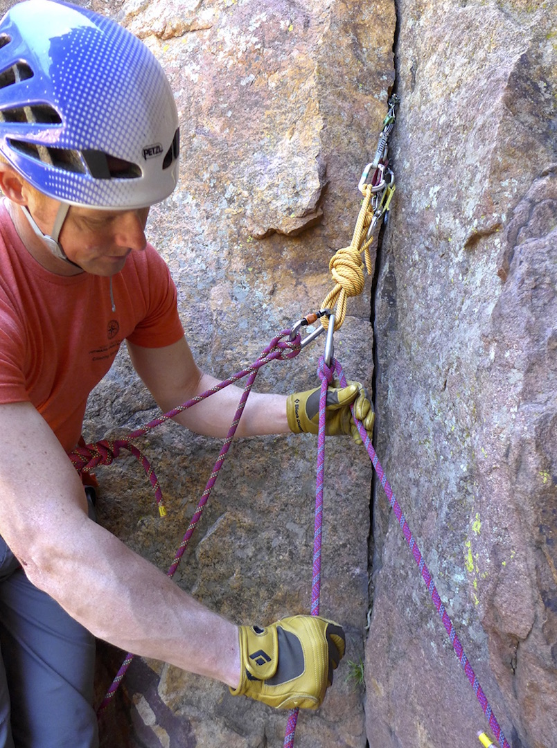 A direct belay off an anchor with a Munter hitch.