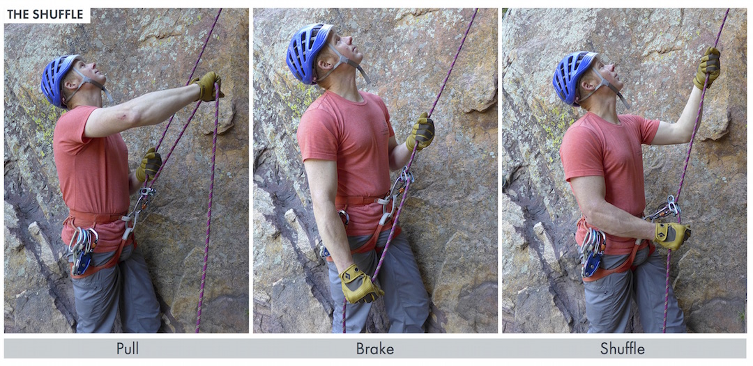 """The """"shuffle"""" top-rope belay technique."""