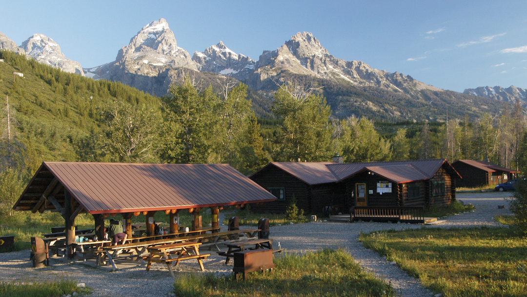 The Grand Teton, high point of the Teton Range, from the Climbers' Ranch.