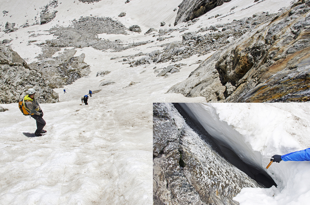 Steep snow must be climbed and descended near the Lower Saddle in early season. (Inset) A moat along one side of a snowfield. In June 2013 a climber slid into a moat and died.