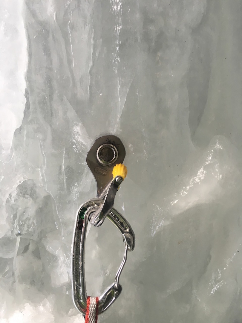 The screw that held Dale Remsberg's long fall above Ouray, Colorado.