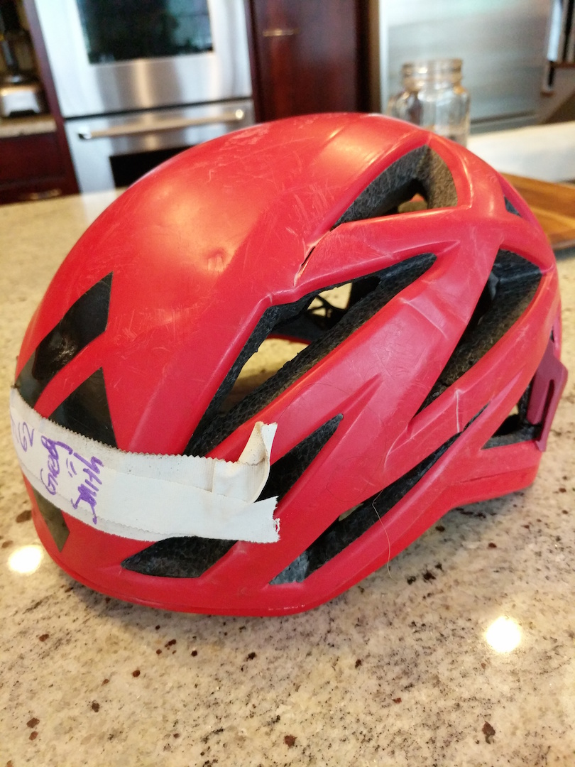The helmet a climber was wearing when he survived a ground fall in Calico Basin, Nevada.