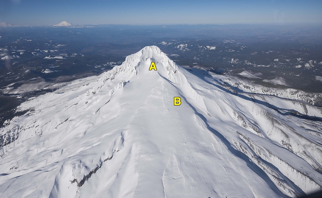 "The ""Mt. Hood Triangle"" is obvious from the air on the mountain's south aspect. Heading straight down the fall line from Crater Rock (A) leads climbers away from the proper descent route (B). Follow a magnetic south (180°) compass bearing from Crater Rock to stay on track."