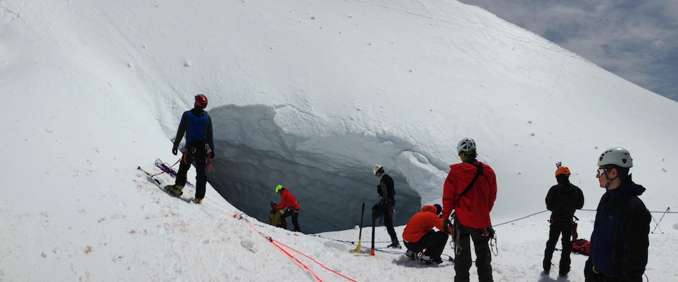 Rescuing a climber from 100 feet down in a fumarole on Mt. Hood's South Side.