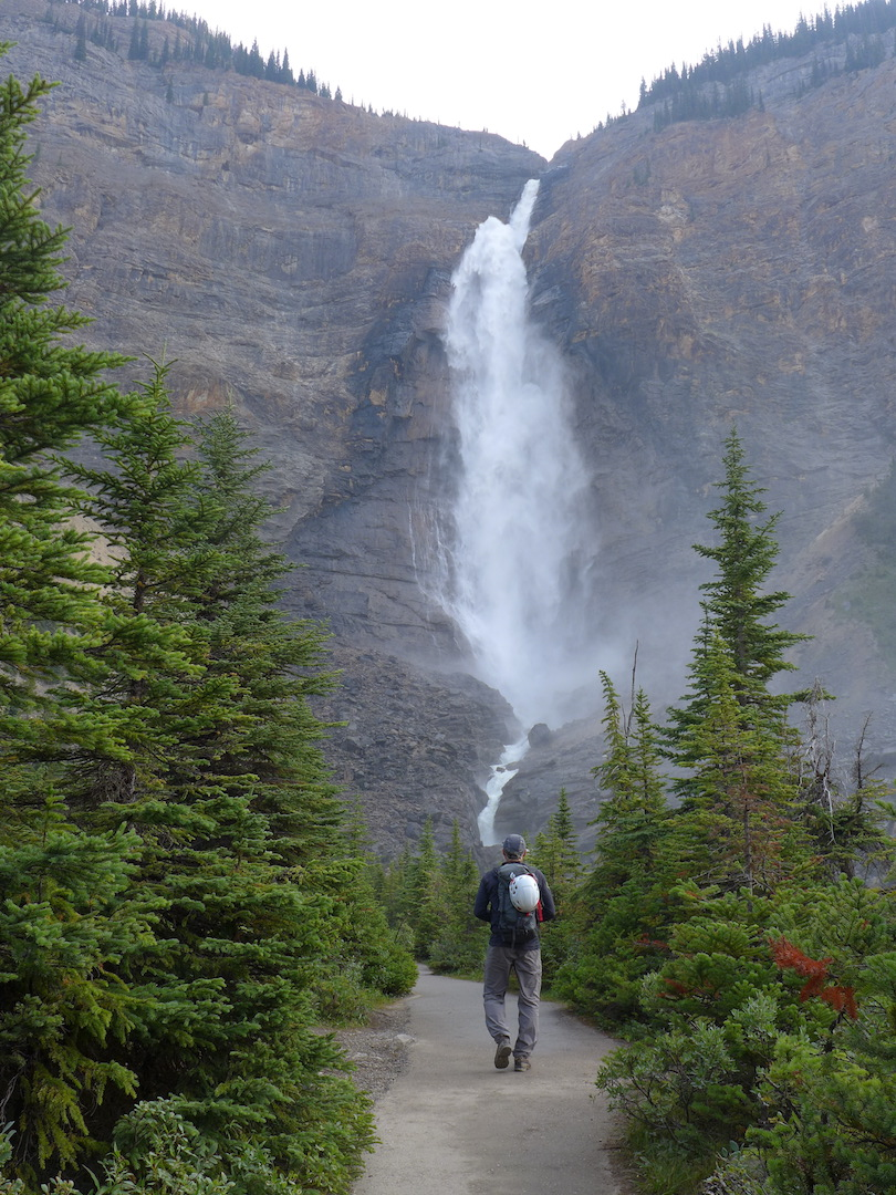 The popular 12-pitch Takakkaw Falls route is left of the waterfall.
