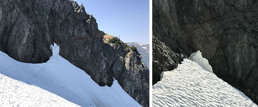 Before (left) and after photos of the ice bridge that collapsed on the Red Ledges traverse.