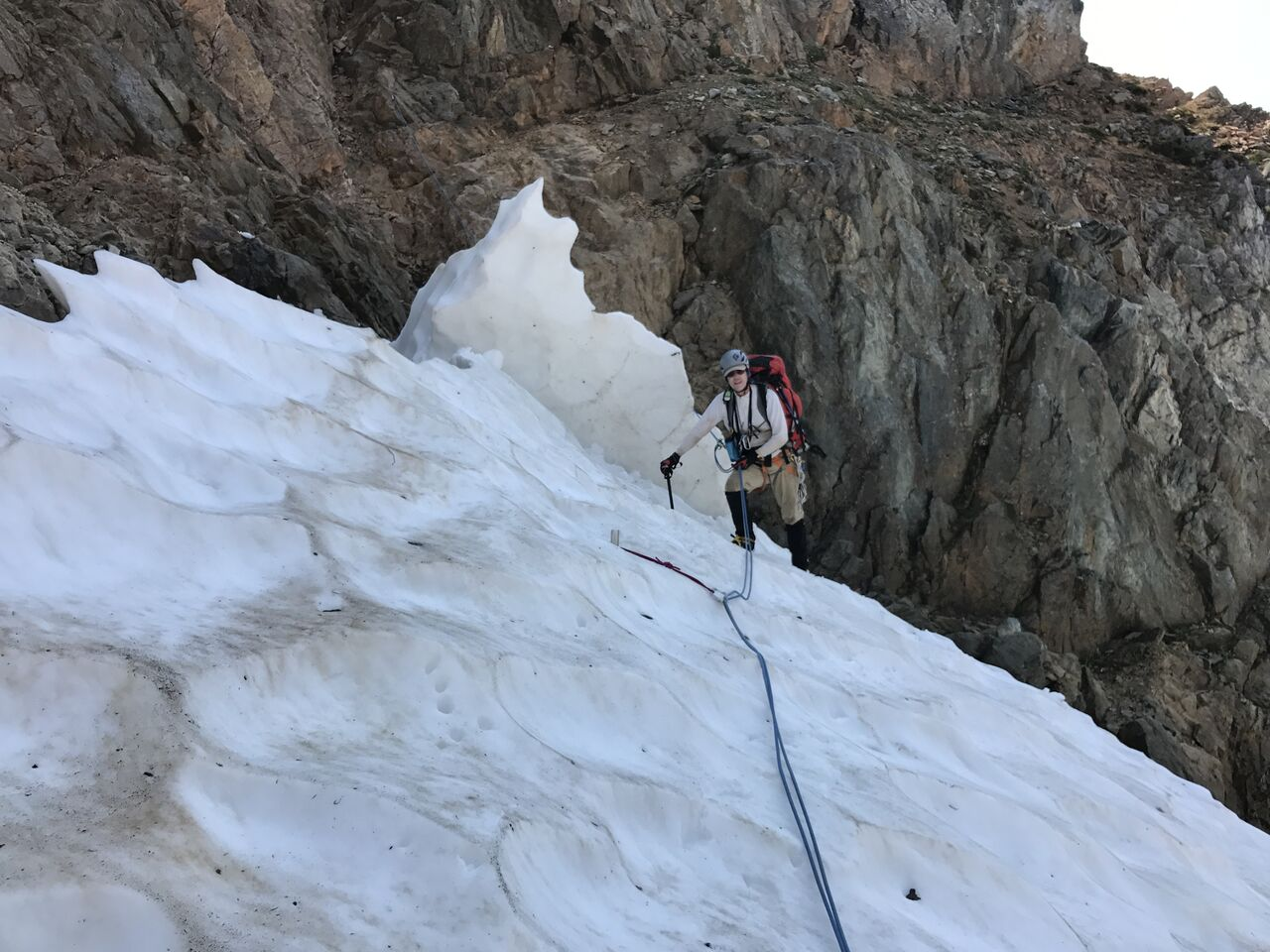 The icy fin in center collapsed and knocked the photographer into a moat just as he rappelled from the Red Ledges above. Fortunately, he had only minor injuries.