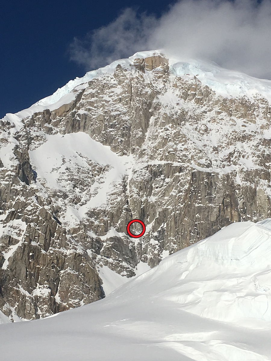 The site of an accident on West Kahiltna Peak is shown, three pitches up a new route on the west face. The patient, who had a lower-leg fracture, was flown from the face in a short-haul mission.