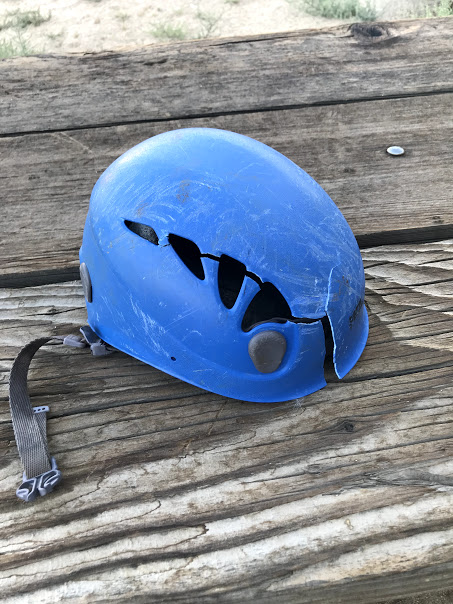 Climber's smashed helmet after a long tumble in the North Couloir of Thunderbolt Peak.