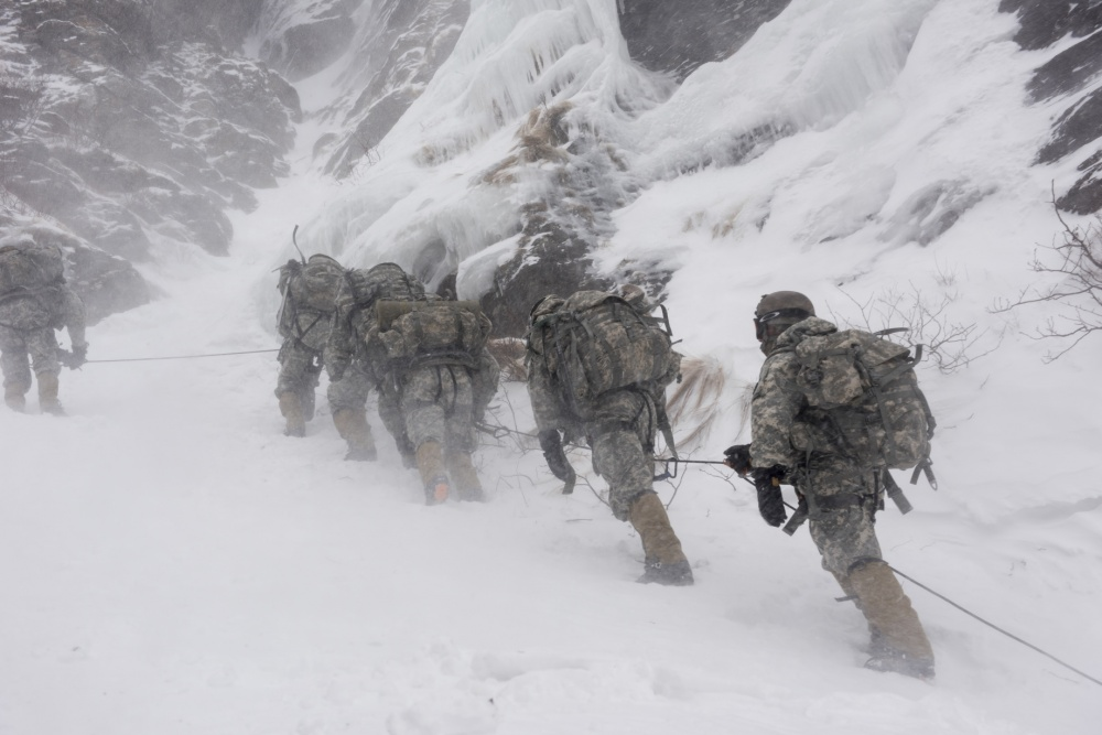 Army team near the avalanche site in Easy Gully during an earlier training exercise in 2015.