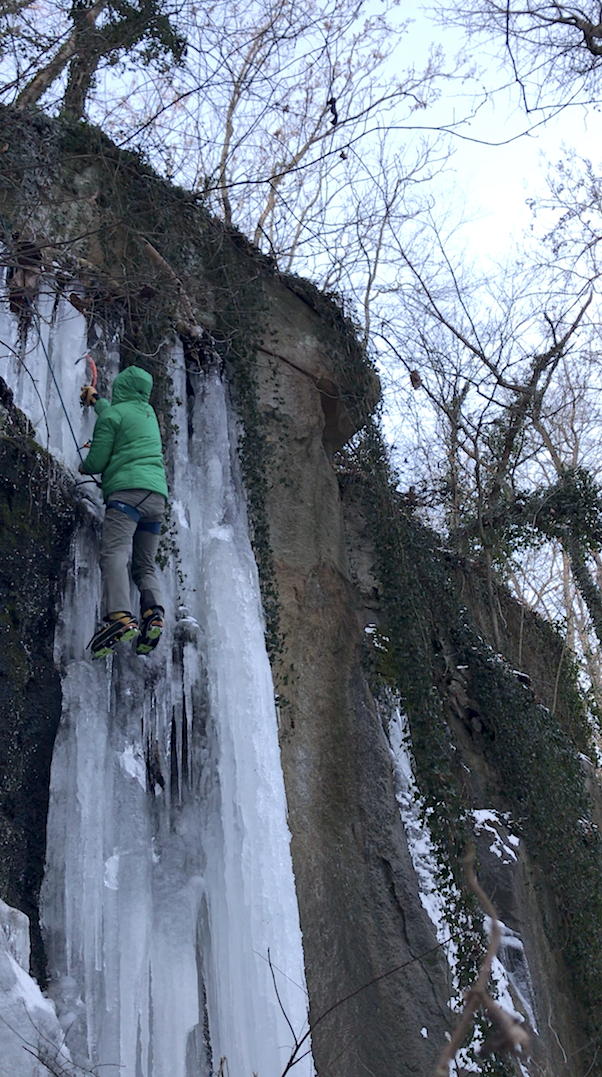 Scene of an ice climbing accident involving miscommunication while attempting to lower from the top of the climb.
